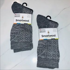 Smartwool Grey 'Lily Pond Pointelle Crew' Sock Duo